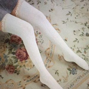White cable knit over the knee lace trim socks